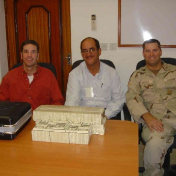 Our single largest one time payout was $1.16 million in October, 2004. Our man calmly put it his briefcase and walked out into Tikrit.