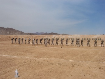 My Marines train to go to Iraq. 29 Palms, CA, summer 2006. We had a lot of trouble getting enough ammunition to train, among other problems, as we prepared to deploy. Officers senior to me lied about our shortages and it took the personal intervention of the 4th Marine Division Commanding General for us to get the ammunition, equipment and facilities to be properly trained for Iraq. Semper Fi and fuck you 4th CEB.