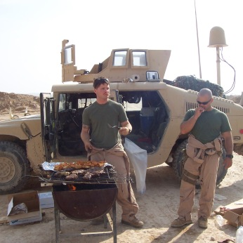 Two of my NCOs grill for their Marines in between missions and patrols. I was blessed, company wide, with tough, smart and dependable corporals and sergeants. They kept their Marines alive. Rahwah, Anbar Province, Iraq, 2006/7