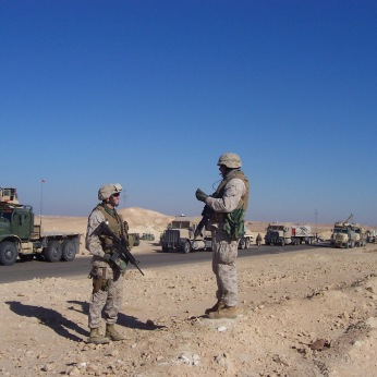 Speaking with my operations chief, Master Sergeant Kent Samuels, the best Marine I ever served with, on a clear and beautiful December day in Iraq. Two of my Marines would be severely wounded just hours after this photo.