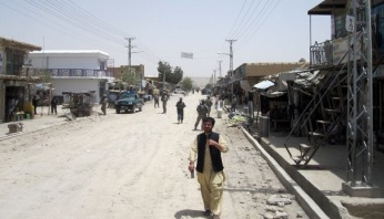 Downtown Qalat. A provincial capital, Qalat set on the main highway between Afghanistan's two major highways. 14 years after the war began that highway is still not controlled by Afghan government forces. August 2009