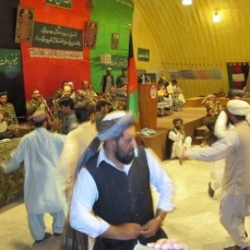Afghan men and soldiers dance at an Afghan Independence Day celebration. The holiday commemorated defeating the British (multiple times) and the Soviets. My British colleagues were a bit unnerved by some of the referencing to killing Brits in their speeches and songs. Note the photo of Ahmed Shah Massoud in the top left corner of the photo. The ANA truly stood for the Army of the Northern Alliance.