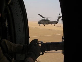 Flying to Baghdad in 2004/5. This was often very cold and loud, or very hot and loud, but much, much safer than driving back and forth on Route Tampa.