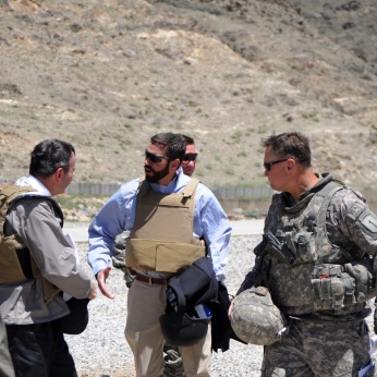Greeting Ambassador Karl Eikenberry alongside the Commander of 3rd Brigade, 1st Infantry Division. At this point I was the acting political officer for four provinces in northeastern Afghanistan. Spring 2009.