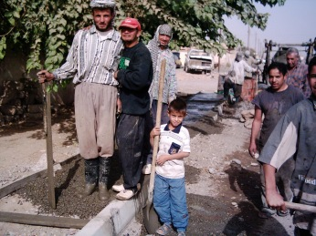 Laborers employed under my public works program. Monthly I would disperse tens or hundreds of thousands of dollars to Iraqi communities in Salah ad Din Province to maintain public services. At its peak I had 3,000 employees. Sure, plenty of it got stolen, but the work did get done and it was done transparently and through the Iraqi ministries and local governments. The insurgency still blossomed bloodily.