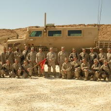 My route clearance team. Anbar Province, Iraq, 2007. Their job was to drive the roads looking for IEDs. The two burst bombs on the side of the Buffalo indicate that the Buffalo was hit twice, I believe it was hit again after this photo. Other vehicles were hit far more often. I don't believe any of these Marines were screened for traumatic brain injuries upon our return to the US even though some of them were in at least 7 or 8 IED strikes on their vehicles. I believe I personally was in about 10 convoys and patrols that were hit with IEDs, although, somehow, my vehicle was never hit, just those in front and behind me. Whether that was due to Fortune or dumb luck I don't know. Not to be outdone, the other Marines in my company searched for IEDs and weapons caches with handheld mine detectors on foot. All of us, on multiple occasions, would dismount our vehicles and walk on foot in front of the vehicles looking for mines and IEDs, at night we would do it with flashlights.