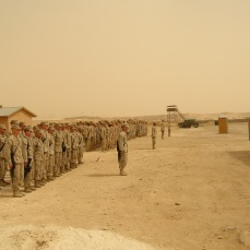 The majority of Marines and Sailors I led waiting for the flight to take us home at Al Asad Airbase, Anbar Province, Iraq. About 20 of my Marines and Sailors had to remain in Anbar for a few extra weeks. That still bothers me. April 2007.