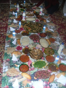 My Kurdish colleague's family would host us. Here is a spread Karzan's mom and sister made for me and my security team.