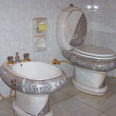 Due to my position, which really was seniority by default, because no one else showed up, I had my own bedroom with working bath. Here's my toilet and bidet. I had a hot shower for half the year which was an unbelievable luxury compared to nearly everyone else in the country, soldier, insurgent or civilian (our hot water tank was located outside). Tikrit, Iraq, 2004/5