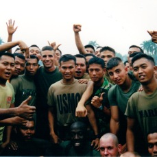 Ashore in Jakarta with Indonesian Marines in 2001.