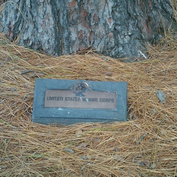 A simple plaque to remember the presence of United States Marines in Australia at the War Shrine in Melbourne, Australia.
