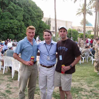 Memorial Day party at CPA headquarters, Baghdad, Iraq, May 2004. I had been in Iraq for a few weeks at this point. While Baghdad was hit daily with car bombs we drank Amstel Light.