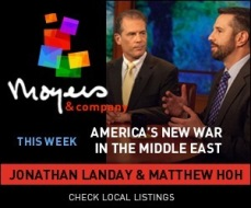 The banner from my appearance with Jonathan Landay on one of Bill Moyers' last shows. September 2014