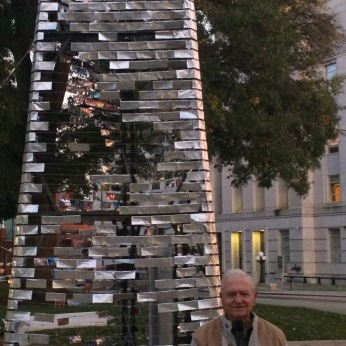 Sam Winstead, who fought at Peleliu and Okinawa in World War II, speaks at the Swords to Plowshares Memorial Bell Tower during Veterans Day observations in Raleigh, NC, 2014. Each year Sam rides his bike to Washington DC to speak for peace.