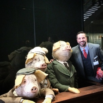With the three pigs at the Guardian offices in London 2014