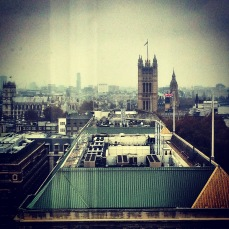 Parliament, Westminster and MI5 from RT's London studio. November 2014.