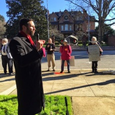Speaking against torture outside the governor's mansion in Raleigh in 2014. North Carolina is home to an airfield utilized in the US government's rendition and torture program. While clearly illegal, under existing local, state and federal laws, no elected or appointed official has had the courage, or political need, to enforce the law.
