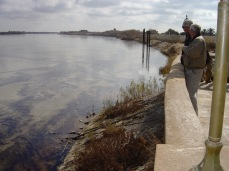 Watching the oil on the ancient Tigris River drift by in January 2005.
