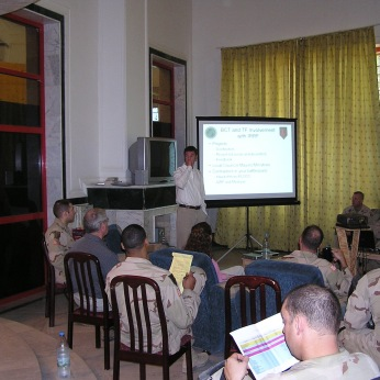 Teaching soldiers and civilians how we were doing governance and reconstruction operations in 1st Infantry Division's AO in 2004. We were a model of success for the rest of Iraq, but the success was only on paper. Sure we built and repaired a lot, some of it competently (almost always when we worked through the Iraqi ministry and not Western contractors), but as we spent millions of dollars per week, worked to ensure elections would occur and to create an Iraqi government, the insurgency gained in strength every week.