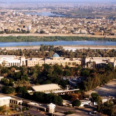 An aerial view of the Presidential palace in the Baghdad. It would serve as headquarters for the US Coalition Provisional Authority and then the US Embassy in Iraq.