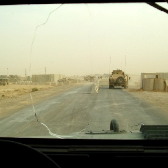 Heading through a checkpoint in 2004.
