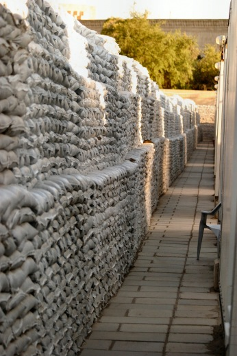 The sandbags of the embassy compound in Baghdad. 2004/5