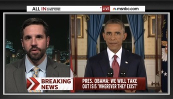 Speaking with Chris Hayes on MSNBC the night the US launched strikes agains the Islamic State in 2014. A year later the Islamic State is only larger, stronger, and has a global presence throughout the Muslim world. In the past two weeks they have successfully inspired the mass bombings in Beirut, attacks in Paris and the downing of a Russian airliner.