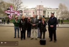 With Code Pink and Ray McGovern speaking against the US and NATO intervention in Libya. Spring 2011.
